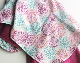 Floral Receiving Blanket, Baby Girl Blanket, Flannel Receiving Blanket, Nursing Cover, Stroller Blanket, Swaddling Blanket, Baby Shower Gift