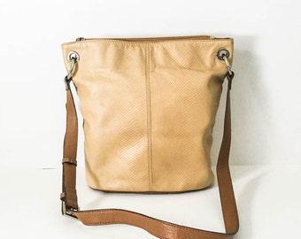 Leather handbag - Tan pebble leather purse - Tignanello tan leather shoulder bag - Two toned leather satchel - Minimalist handbag