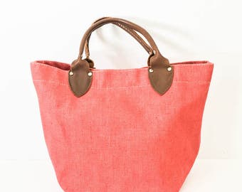 Canvs tote bag - Top handle tote - Pink canvas tote bag - Canvas and leather tote - Made in Maine tote bag - Canvas handbag - Canvas purse