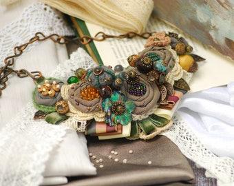 Green Gray Brown Beige necklace Nurse jewelry Floral Necklace Jewelry Flower Gift Fabric Flower Necklace Textile Necklace Evening Necklace