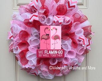 Valentine's Day Wreath,  Deco Mesh Valentine's Wreath, Flamingo Wreath, Red and Pink Wreath, Mesh Valentine Wreath