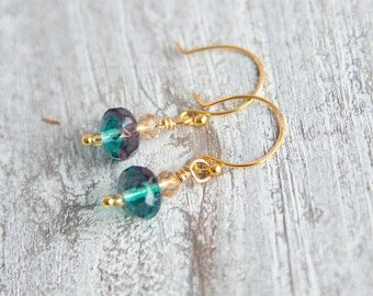 Tiny Boho Earrings, Blue Green Earrings, Icy Blue Earrings, Blue Earrings, Tiny Gold Earrings, Blue Earrings, Ice Earrings, Cute Earrings