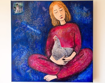 Girl with chook, Whimsical Art, Stylized Portrait, Original Painting, Mixed Media, large wall art, girls bedroom decor, Art Sale