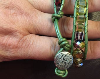 Wrap around beaded bracelet button closure - adjustable