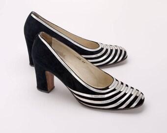 1970s Renata Black Suede & Silver Kid Court Shoes