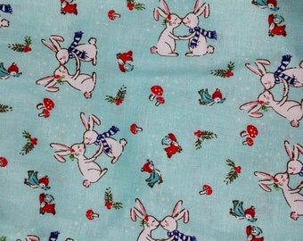Kissing Bunnies! Gathering Apron for Eggs or Gardening with Choice of Pockets - Waist Tie