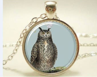 OWL necklace pendant glass cabochon OWL OWL pendant