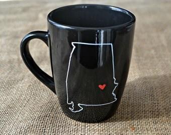 Alabama Mug - Hand Painted Coffee Mug AL Mug Mug- Morning Coffee Cup - Hand painted Mug Alabama Love Cup Mug - Customizable