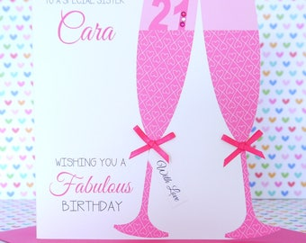 Personalised Handmade Birthday Card 18th,21th,30th,40th,50th,60th, Sister, Friend, Daughter, Mum, Auntie, Cousin