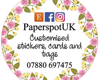Customised business stickers yellow and pink flowers