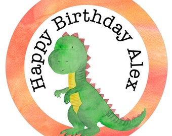 T Rex dinosaur animal birthday sticker for party bag