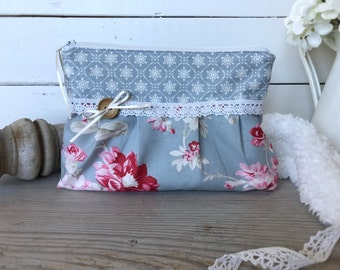Shabby chic pouch, Pleated pouch, Floral zipper pouch, Pencil case, Blue makeup bag, Cosmetic pouch, Gift for her, Romantic, Roses, Lace