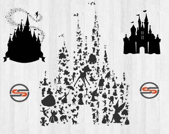 Disney Castle SVG, Tinkerbell SVG, Mickey Mouse, Cinderella, Magic Kingdom, Disneyland, Silhouette, Clipart, Transfer, Cut Files, DXF, Cameo