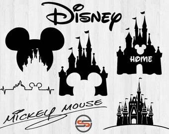 Disney Castle SVG, Magic Kingdom, Mickey Ears, Heart, Home, Mickey Mouse Autograph,, DXF, Cut Files, Instant Download, Silhouette, Cricut
