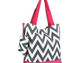 8 Personalized Bridesmaid Gift Chevron Tote Bag Gray & Fuchsia