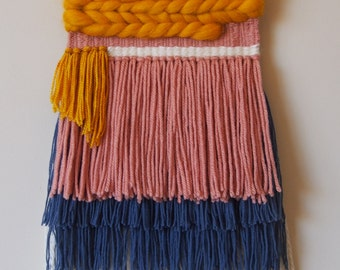 Woven Wall Hanging // Yellow // White // Blue // Pink