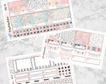 April Floral Month 3 Page Kit, Sized for Erin Condren Vertical {MK-15-16}