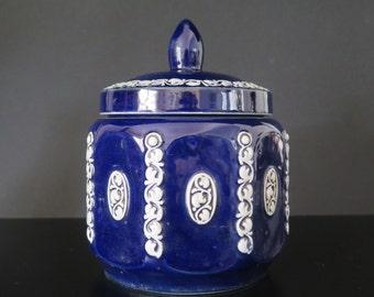 Cobalt blu stoneware jar with white details, midcentury, North Europe (Belgium or Germany)