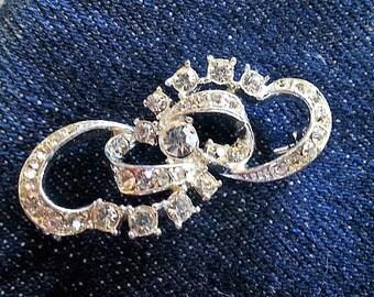 Vintage Rhinestone Pin, Vintage Costume Jewelry Pin, Crystal Brooch, Silver Tone Back