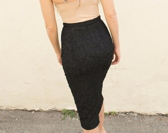 40s Detailed Classic Black Pencil Skirt