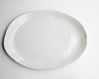 Large Oval Serving Platter, Handmade Stoneware, White Gloss