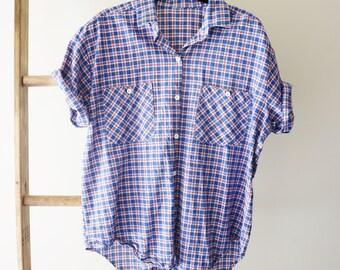 Short Sleeve Plaid Button-up - Cotton - Lightweight - Preppy, Minimal, Basic, Hipster - Women's large