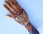 Wooden Mannequin Hand w/ Hand Drawn Illustrations & Tattoos. Use as a Jewelry Display. Great gift idea. Owl, Moon, Fire, Lightning, Mountain