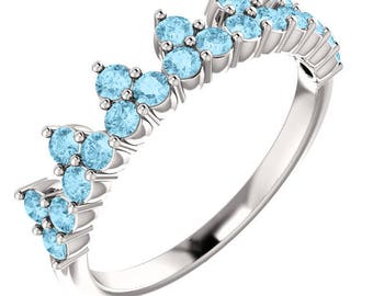 Beautiful New Style 14K White Gold Aquamarine Crown Ring