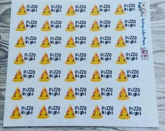 35 Kawaii Pizza Night Planner Stickers