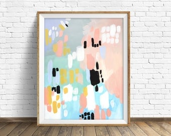 "colorful abstract wall art, large abstract wall art, pastel, abstract painting, instant download printable art, art prints, decor - ""Rivers"""
