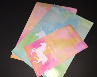 100 Designer 10x13 and 6x9 UNICORN Poly Mailers Blue And Green and Pink and Orange Watercolor  Envelopes Shipping Bags