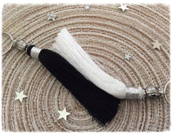 Black and white Moroccan silk tassels duo