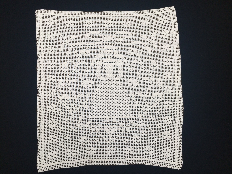 Filet Crochet Doily. Square Doily. White Crochet Doily. Large ...