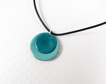 Enamel Pendant Round Spruce Green Turquoise and Robin's Egg Blue Enamel and Copper Necklace