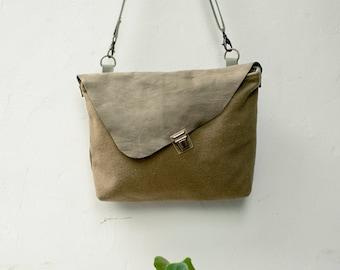 Minimal bag, Leather crossbody bag, Purse with flap, Small messenger bag, Leather bag, Leather Travel Purse, Fabric Leather Bag