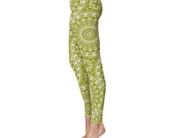 Olive Green Yoga Pants - Mandala Yoga Wear, Printed Workout Leggings