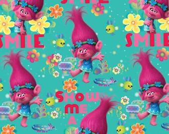 DreamWorks smile Trolls fabric, movie fabric, cartoon fabric, novelty fabric, movie fabric, Poppy fabric