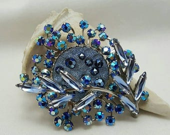 Vintage Blue Art Glass & Rhinestone Pin