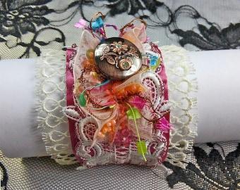 Wide Pink White Bracelet, Bridal cuff bracelet lace, Fabric cuff bracelet, Shabby chic jewelry, Wrist Wide cuff, Textile jewelry, Her Gift