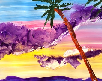 Hawaiian Beach - Original Acrylic Painting, art on paper, 12 x 12, No Frame, Painting only