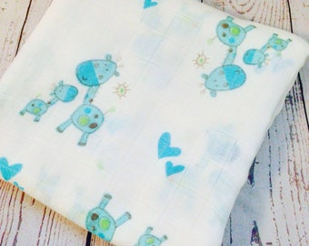 Muslin swaddle blanket- Bamboo swaddle blanket-Giraffe swaddle-Receiving blanket baby swaddle-Gauze swaddle blanket-Muslin swaddle