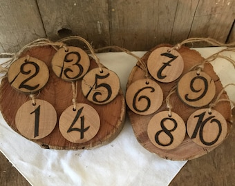 Party Wood Slice Table Numbers, Wedding Wood Slice Table Numbers, Wood disc Table Numbers Handmade Reclaimed Reuse Upcycle Gumtree