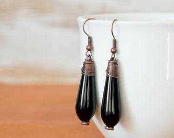 Copper Onyx Earrings,Drop Earrings,Copper Earrings,Onyx Earrings,Oxidized Earrings,Healing Earrings,Wire Wrap Earrings,Black Copper Earrings