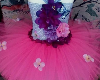 Tutu dress butterfly and flowers