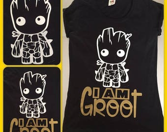 t-shirt top t tee S M L XL XXL guardians of the galaxy i am groot baby cute :)