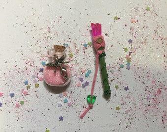Miniature fairy wand & fairy dust set, Miniature Fairy Wand, Miniature Fairy Dust, Miniature Wand, Pixie Dust, Pink Fairy Wand