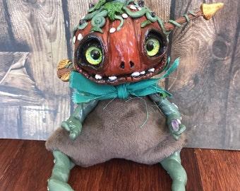 Pumpkin Halloween Amethist Secrets Ceeper Weird Gift Odd Present Freak Cute Art toy OOAK HandMade