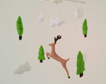 Fir trees and stag nursery mobile, woodland baby mobile, mountain baby mobile