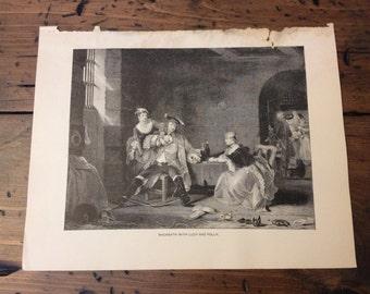 Antique Print - Wood Engraving, Gay's Beggars Opera, MacHeath, 1892 Book Page (B026)
