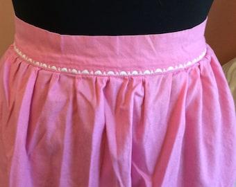 60s Apron, Pink Half Apron, White Trim (B378)